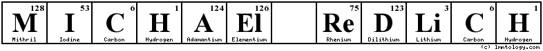 Michael Redlich Periodic Table Logo